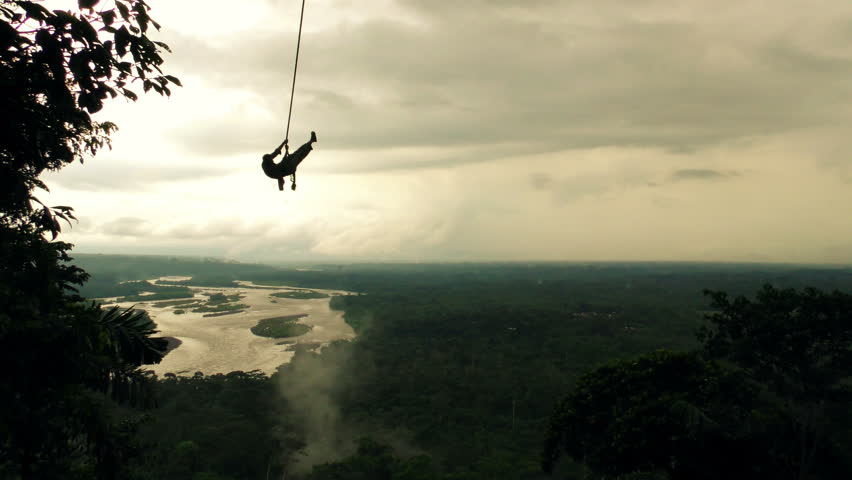 Silhouette Of An Adult Man On A Swing Over The Horizon, Slow Motion  | Shutterstock HD Video #10012244