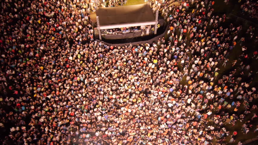 AERIAL: People partying on a outdoors music concert | Shutterstock HD Video #10044698