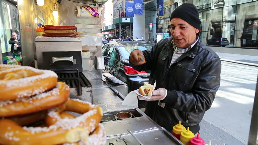 NEW YORK - APRIL 21, 2015: NY street hotdog counter