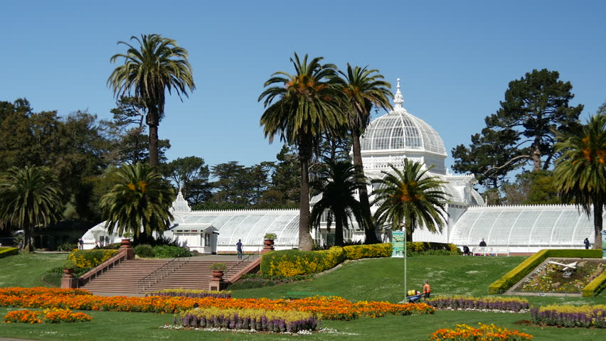 Conservatory of flowers in San Francisco - 4K stock video clip