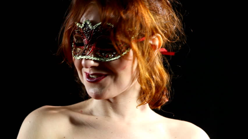 Red Woman in mask smile - emotions in focus - HD stock footage clip