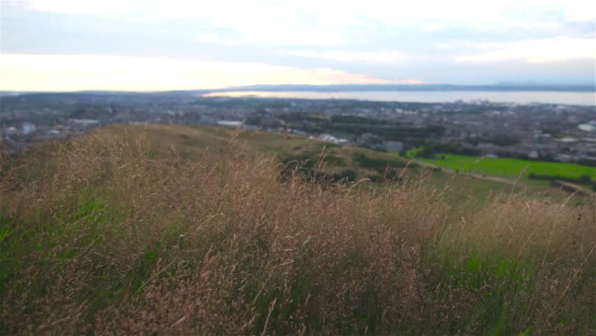 A view of Edinburgh, Scotland from Arthurs Seat - HD stock video clip