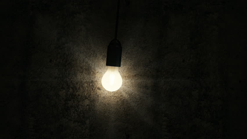 4K Seamless Looping Animation of Hanging Swaying Light Bulb in the Empty Concrete Room Interior