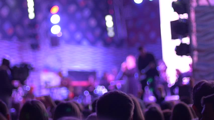 SLOW MOTION: crowd making a party at a rock show. A lot of people enjoying night music concert. | Shutterstock HD Video #10146299