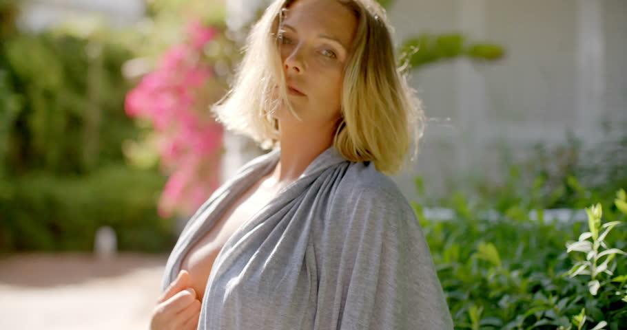 Beautiful blonde bathrobe