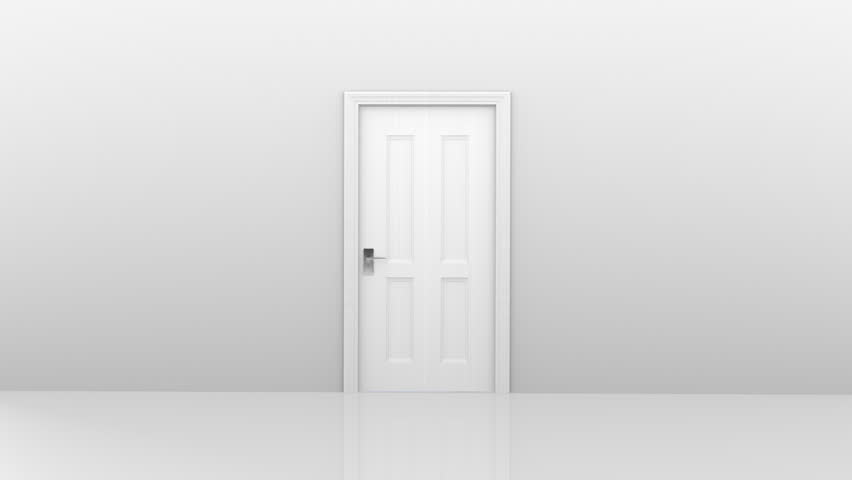 Freedom and enlightenment concept of a white door opening to heavenly clouds