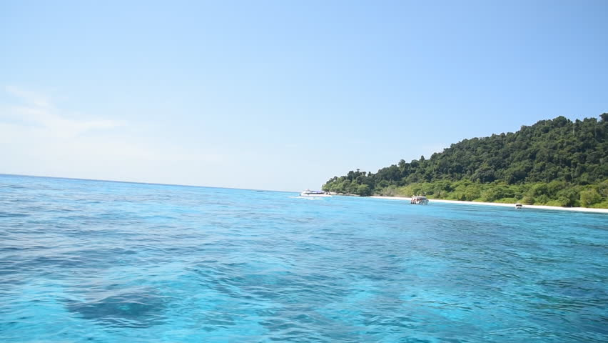 Very clear transparent blue sea turquoise and emerald colored can see many reef under water | Shutterstock HD Video #10181282
