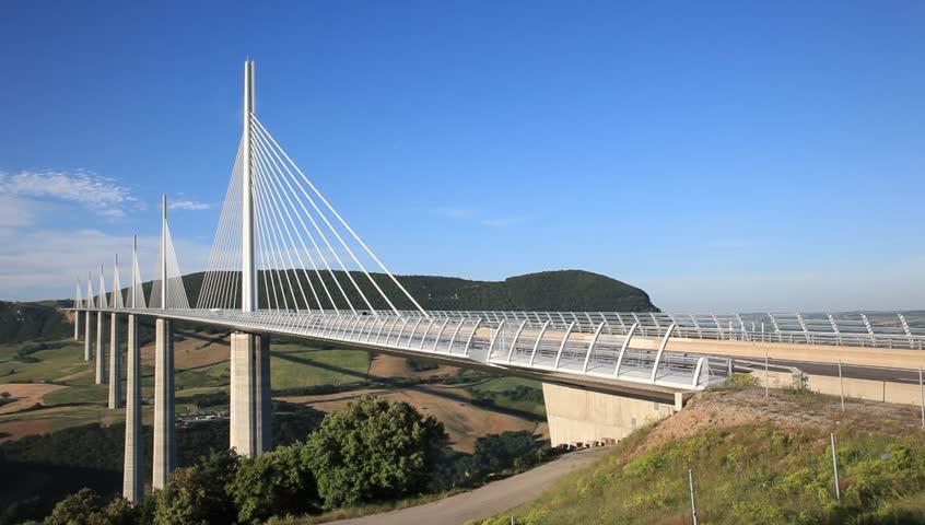 Panorama To Bridge Viaduc De Millau, France Stock Footage ...