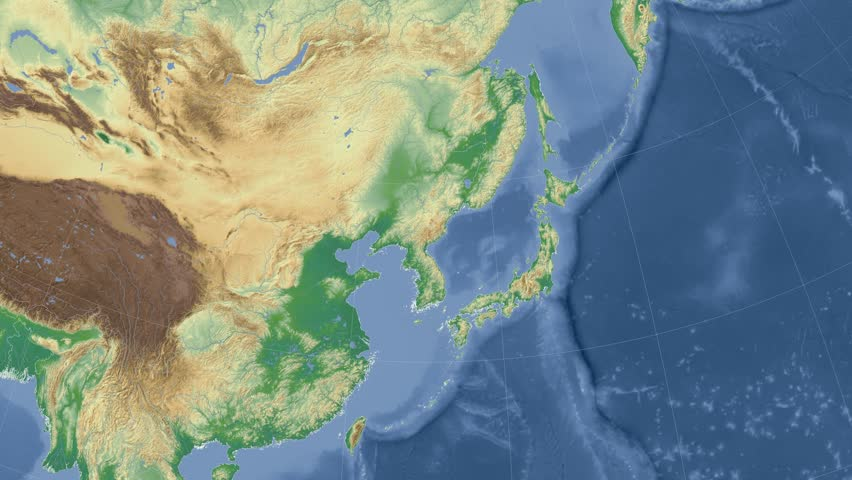 North Korea on the physical map outlined and glowed. Elements of this image furnished by NASA. | Shutterstock HD Video #10229459