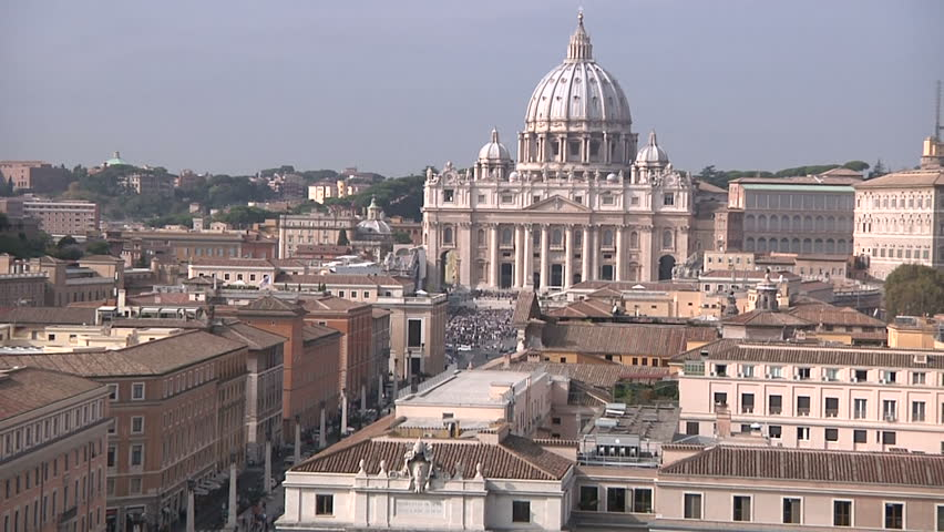 Crowd waiting for the Pope in front of the Papal Basilica of Saint Peter - HD stock footage clip