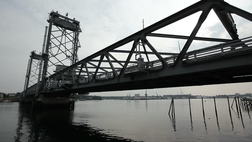 Portsmouth New Hampshire memorial bridge boat goes under | Shutterstock HD Video #10261715