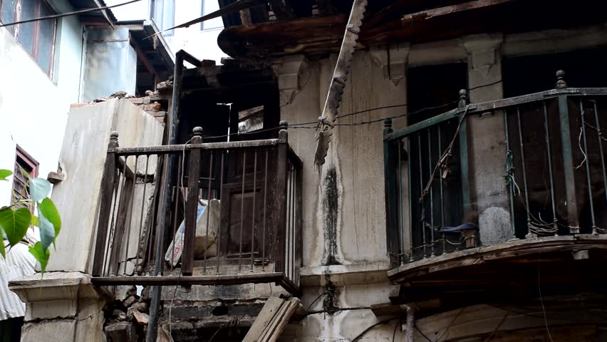 Kathmandu Nepal - May 15 2015 : Damaged building after earthquake disaster - HD stock footage clip