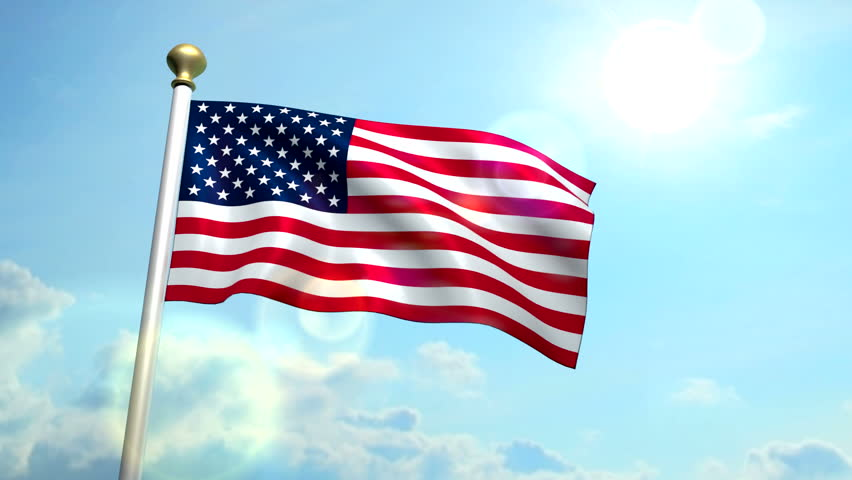 USA US American Flag Medium Shot Waving Against Blue Sky ...
