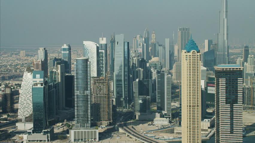 Aerial City Dubai Burj Khalifa Skyscraper Persian Gulf UAE