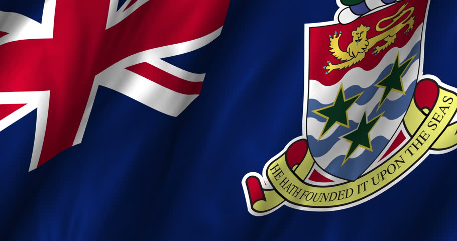A beautiful satin finish looping flag animation of Cayman Islands.  A fully digital rendering using the official flag design in a waving, full frame composition.  The animation loops at 10 seconds.