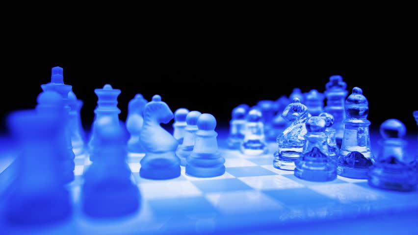 Orbital Shot Playing On A Blue Futuristic Glass Chess