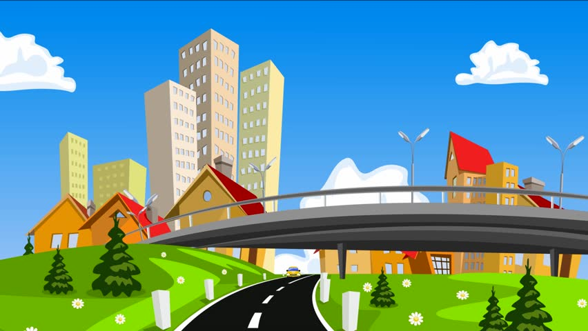 Vector cartoon city and highway with cars.