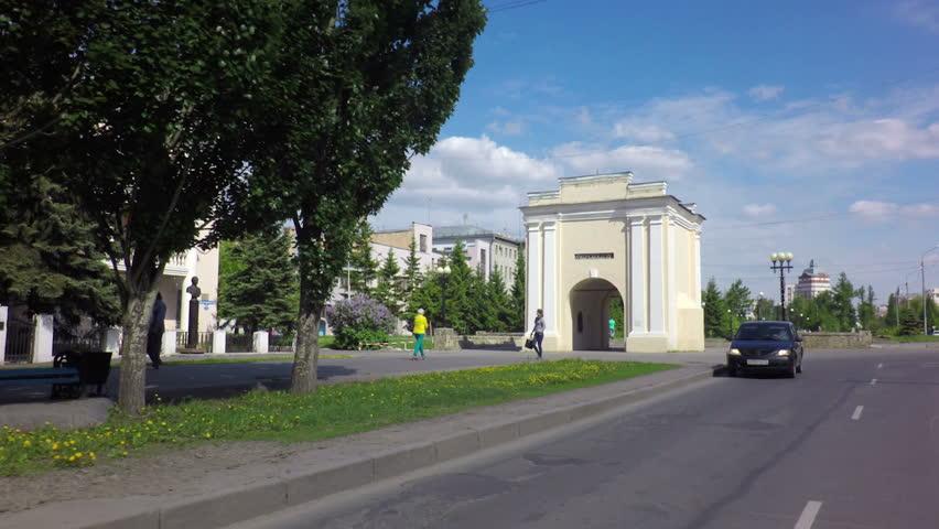 Spartakovskaya Street and Tarskie Gates. Travel around the city of Omsk. | Shutterstock HD Video #10330016