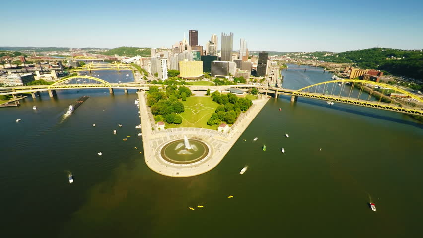Pittsburgh downtown aerial view  - HD stock video clip