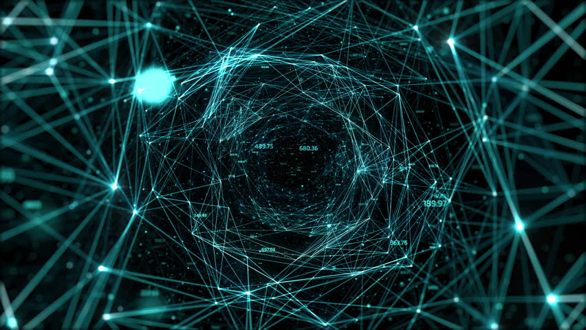 Abstract space background, geometry surfaces, lines and points. Abstract tunnel grid. Can be used as digital dynamic wallpaper, technology background. | Shutterstock HD Video #10338440