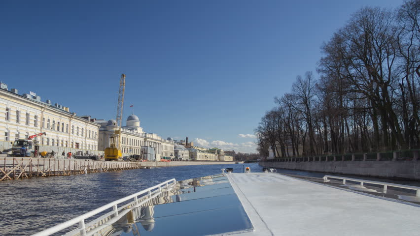 Saint Petersburg rivers boat trip motion timelapse