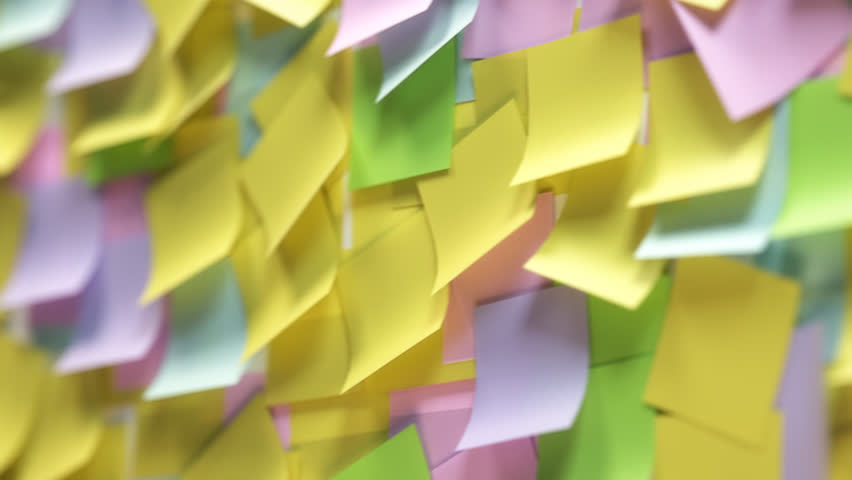 02316 Multiple Colourful Post It Notes. Seamless Animation