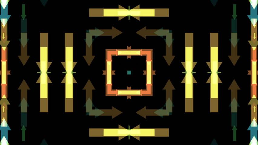 Multicolored arrows kaleidoscope on black background - HD stock video clip