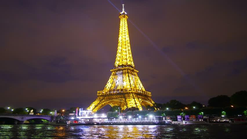 paris france circa 2012 eiffel tower at night timelapse paris france stock footage video. Black Bedroom Furniture Sets. Home Design Ideas