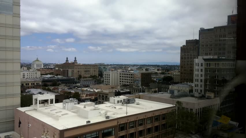 Oakland, California - May, 2015 - View of downtown Oakland from an office building.