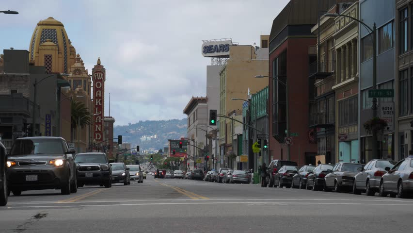 Oakland, California - May, 2015 - Rotating timelapse of Telegraph Avenue.