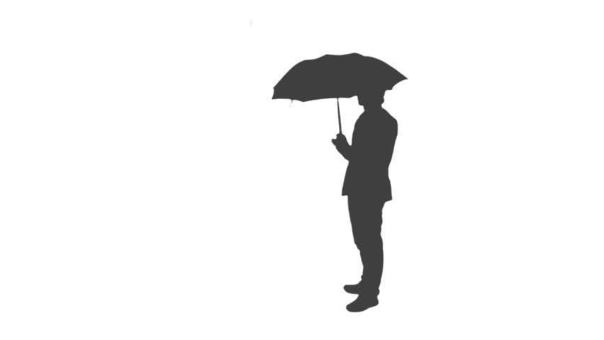 umbrella silhouette standing man 1080p silhouette of a