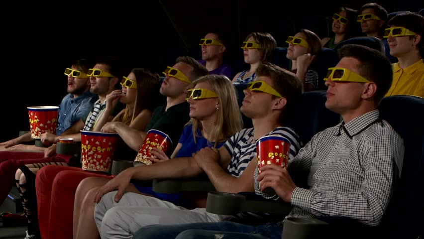 Company Young People Watching Movie At Cinema: 3D Comedy ...