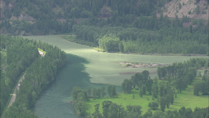 AERIAL United States-Flathead River In Flood 2012 - HD stock footage clip