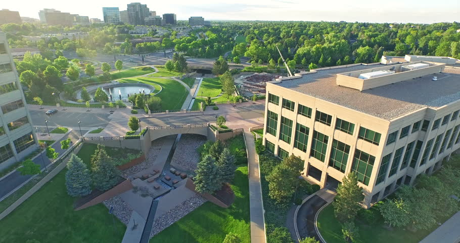 Denver, Colorado, USA-June 14, 2015. Aerial view of urban park in business park. | Shutterstock HD Video #10488632