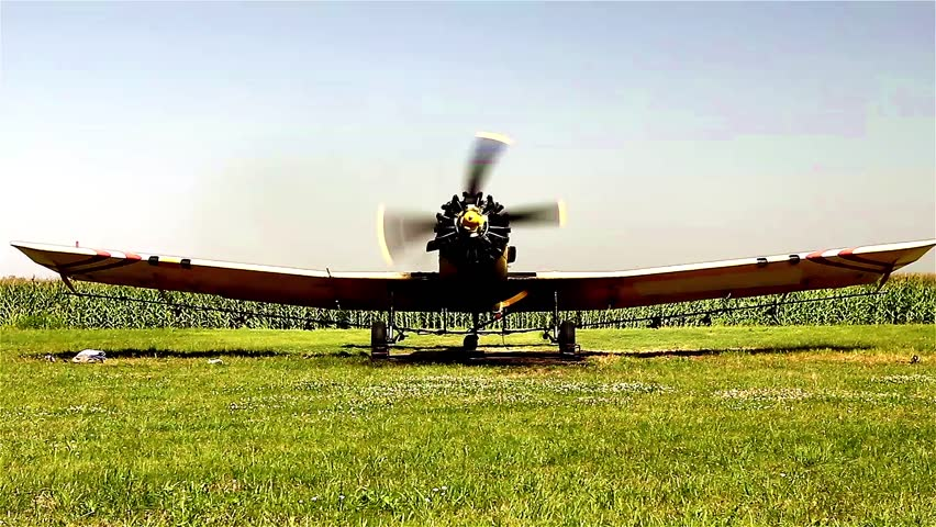 Old crop duster on ground. Yellow agricultural spray airplane is standing in front of corn crop.  #10522553