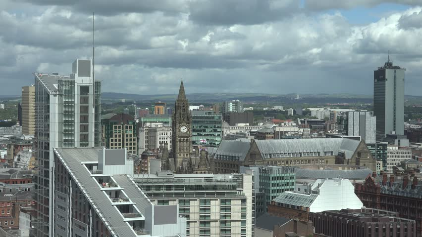 MANCHESTER - ENGLAND, MAY 28, 2015, ULTRA HD 4K Panoramic view of Manchester landmark, beautiful skyline with modern skyscraper by day