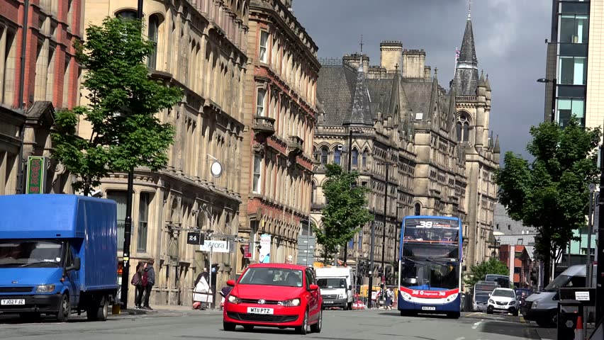 MANCHESTER - ENGLAND, MAY 28, 2015, ULTRA HD 4K Timelapse of traffic car on congestion road with double decker bus by day
