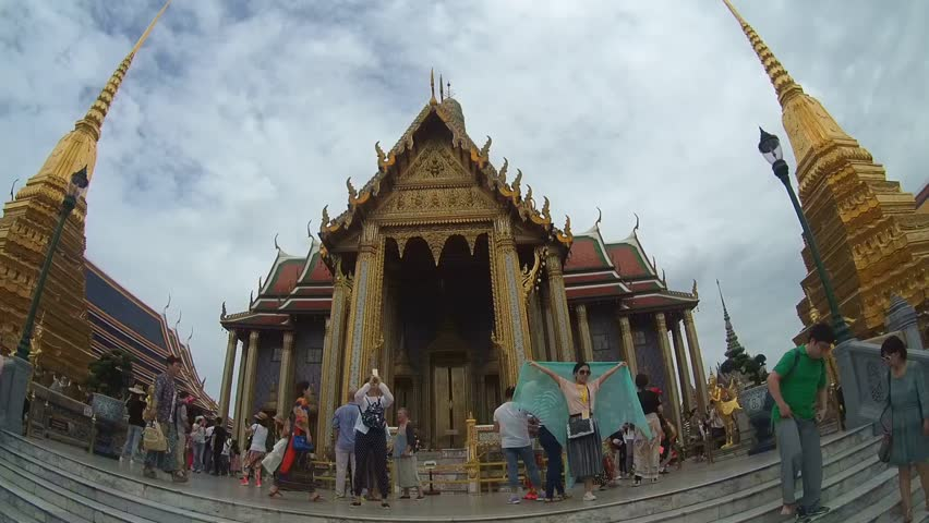 LOEI PROVINCE, THAILAND - JUNE 2015: Wat Phra Kaew or the Temple of the Emerald Buddha, Grand Palace, Bangkok, Thailand  - HD stock video clip