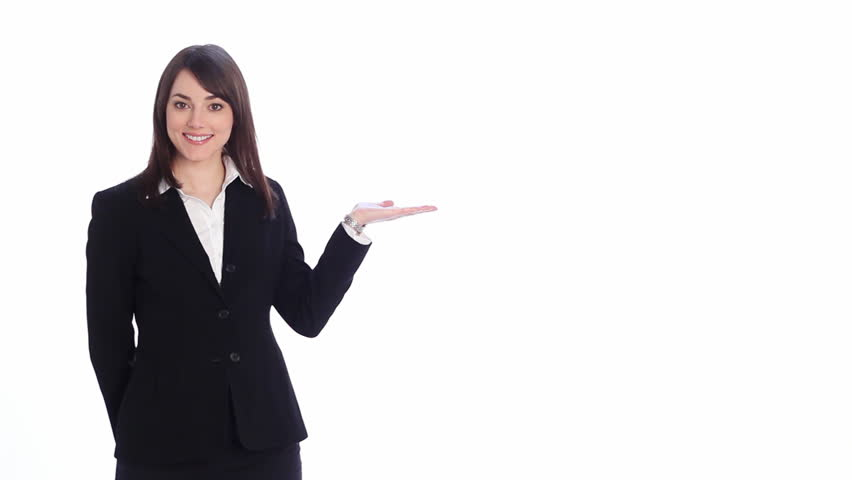 Presentation with copyspace. Attractive, professional woman uses hand to show something. Fill with your own graphic, video or text.