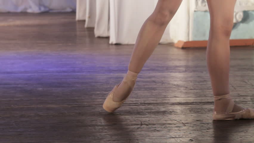 On stage legs dancing ballet single - HD stock video clip