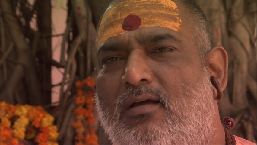 AGRA, INDIA - OCTOBER, 2010: Brahman chanting in sanskrit - HD stock footage clip