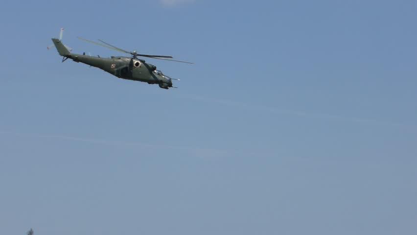 PRUSZCZ GDANSKI, POLAND - JUNE 13 2015: Combat helicopters aerobatics