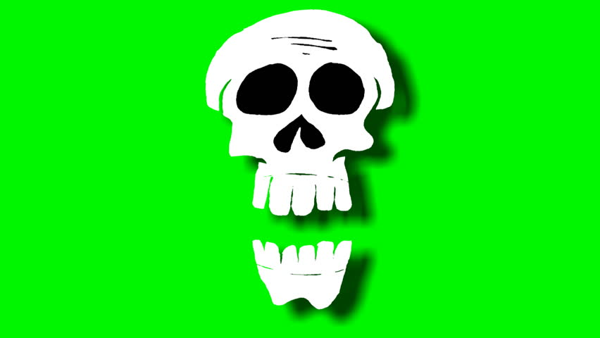 2D animated skulls are talking to the camera
