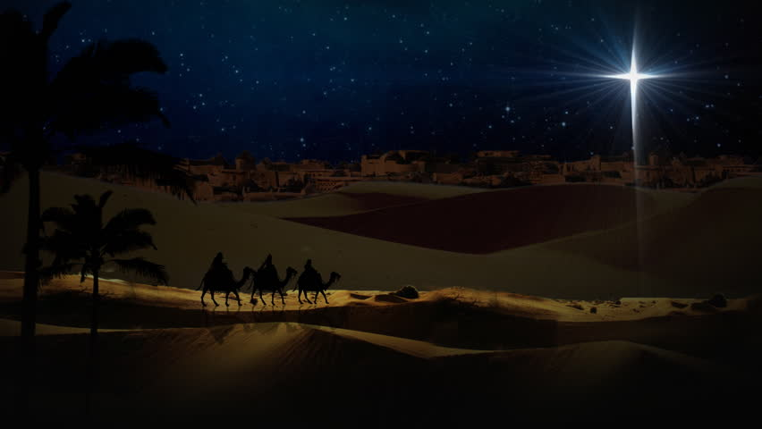 Nativity scene with 3 wise men and the christmas star stock footage
