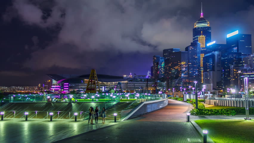 Park public and  building at night  in Hong Kong | Shutterstock HD Video #10642451