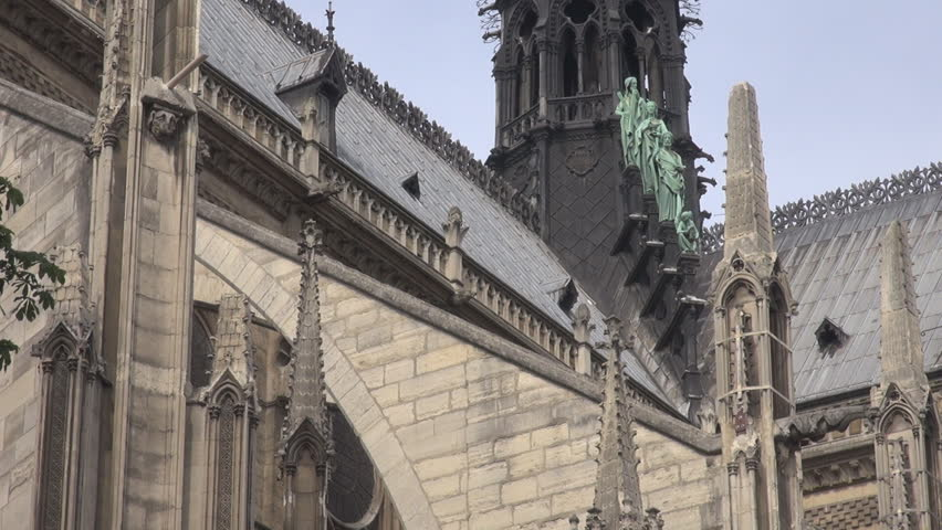 Detail of Notre Dame landmark church in France, great french architecture site | Shutterstock HD Video #10652495