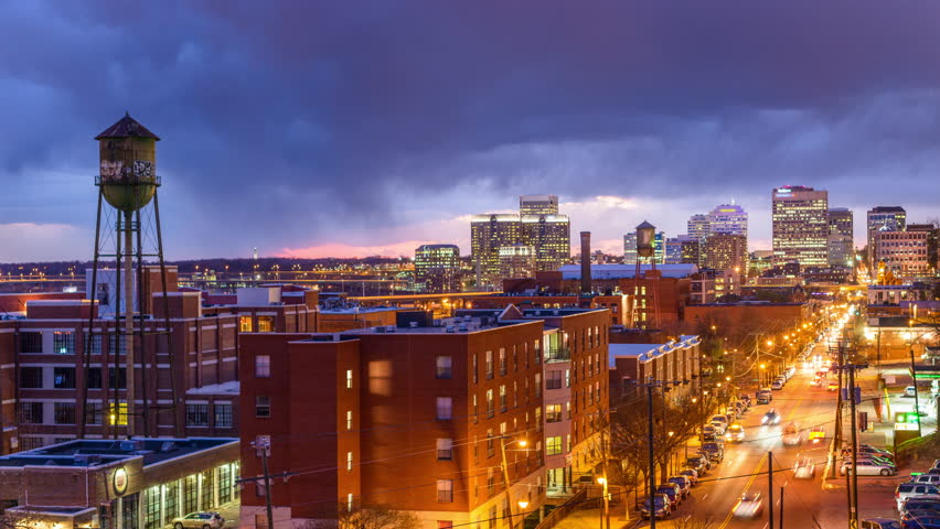 Richmond, Virginia, USA downtown skyline time lapse over Main Street. #10659002