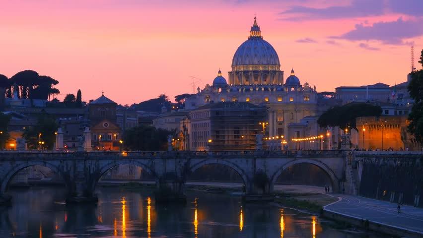 Rome Skyline St.peter Basilica Vatican City As Seen From