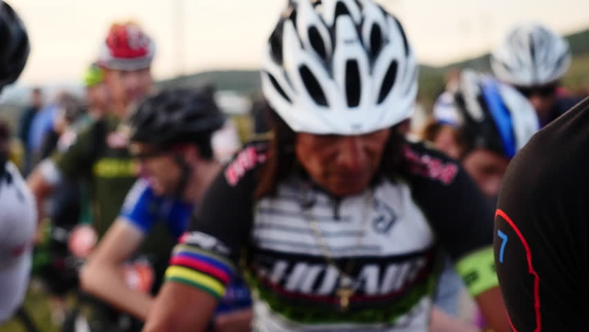 "Park City, Utah, Circa August 2014.  Professional mountain biker David ""Tinker"" Juarez at starting line for the Point 2 Point Mountain Bike Race. - HD stock footage clip"