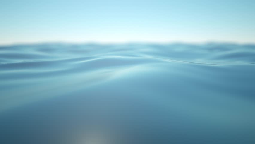 Gentle blue waves of the sea or lake moving in a calm and soothing way. A 3D rendered animation of a closeup of the sea with a blurred horizon.  | Shutterstock HD Video #10669028